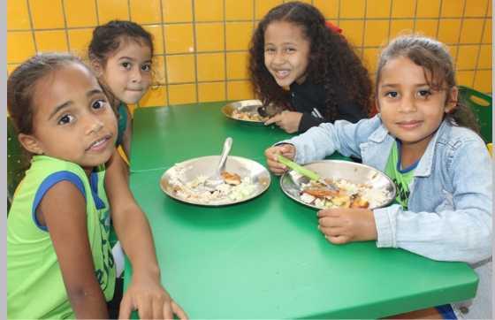Alimentação dos alunos da rede municipal de ensino. Foto: Divulgação